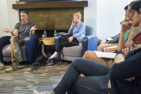 "Photo: Courtesy of Ray Whitehouse, Institute of Politics Columnist and founder of the ""It Gets Better"" project Dan Savage  and IOP fellow Ana Marie Cox discuss the role of social media in activism."